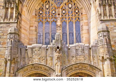 Yale University Sterling Memorial Library Facade Statue Ancient Writings