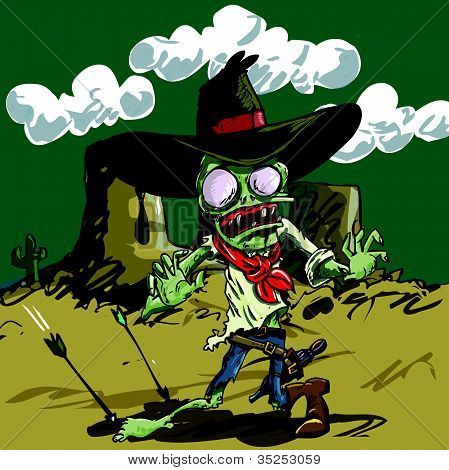 Zombie Cowboy ready to draw