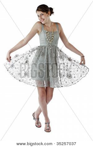 Teenage Girl Dances In Lace Party Dress