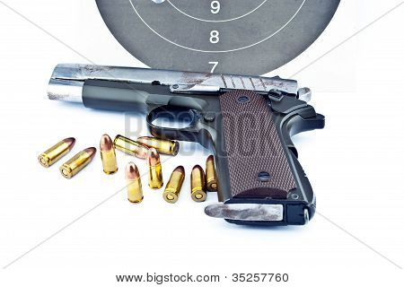 9-mm Handgun And Target Shooting