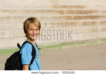 Happy Child Walking To School