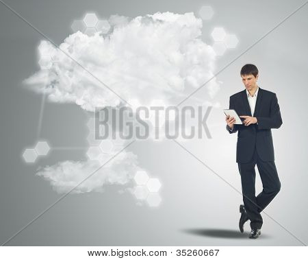 Businessman With Touchscreen Internet Table