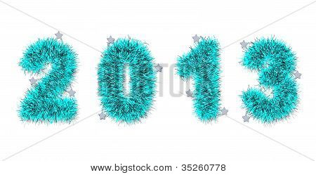 Blue Tinsel Forming 2013 Year Number