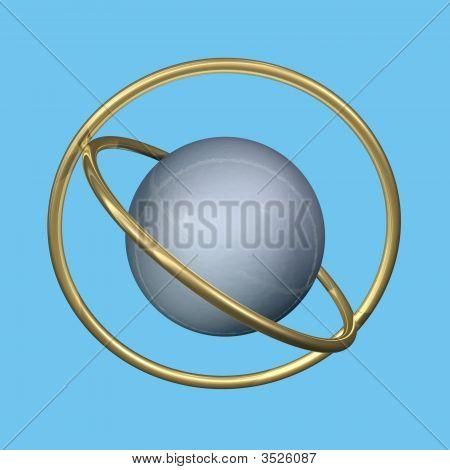 Anéis e esfera de metal