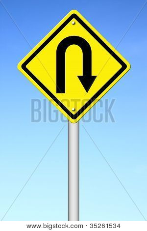 Yellow Warning Sign U-turn Roadsign