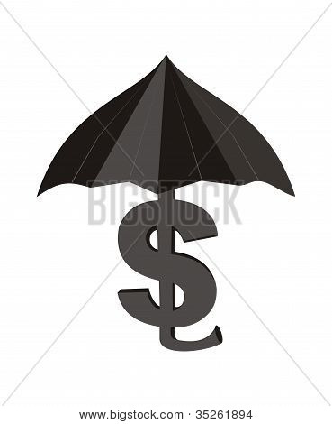 Dollar with an umbrella.