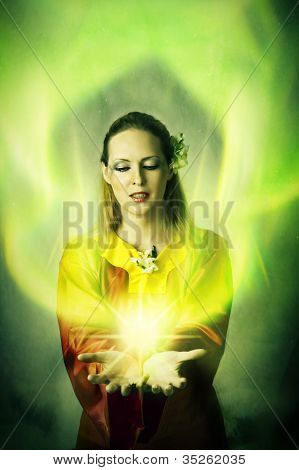 Young Woman Elf Or Witch Making Magic