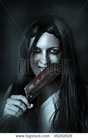 Portrait Of A Gory And Scary Zombie Woman