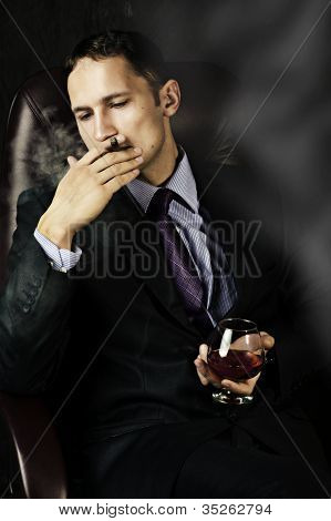 Man With Old Brandy Glass, Smoking Cigar