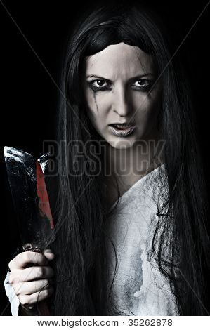 Zombie Woman On Black Background