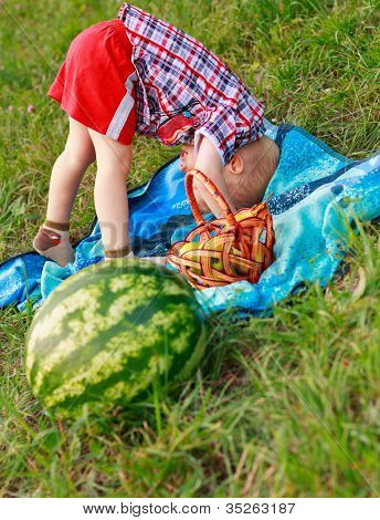 Cheerful Child Playing Outdoor At A Picnic