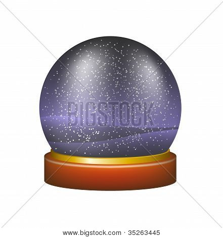Snow globe with winter night landscape