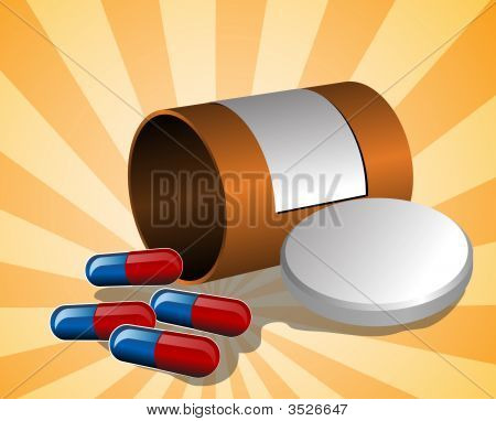 Illustration Of Open Pillbox With Pills