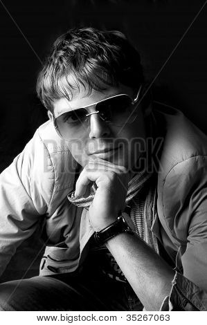 Young Fashion Man In Sun Glasses