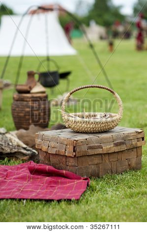 Antique Wicker Basket And Chest