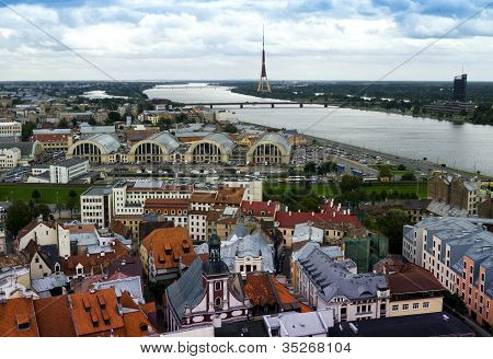 Panoramic view from Saint Peter cathedral, Riga, Capital of Latvian republic