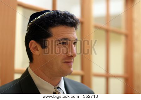 Young Jewish Man In Yarmulke