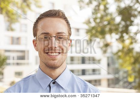 Good Looking Smiling Businessman Businessperson Portrait Outdoor