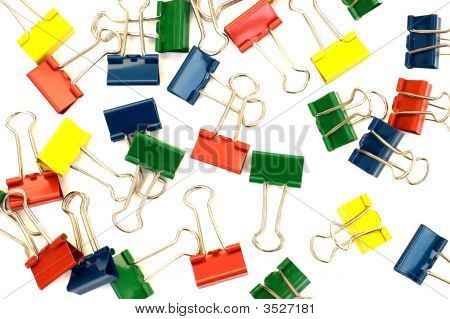 Isolated Colorful Metal Clips Background