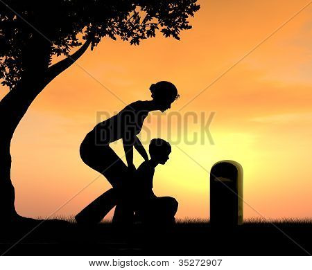 Mother and Son at Dads Grave