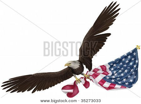Eagle Flying Holding Flag