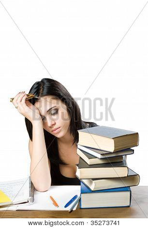 Exhausted Young Student Woman.