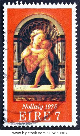 Postage stamp Ireland 1975 Madona and Child, by Fra Filippo Lipp