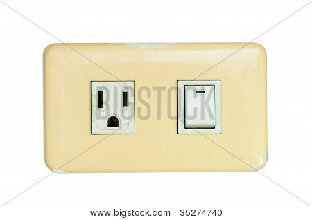 Old Multi Power Combination Light Switch And Power Outlet Isolated On White