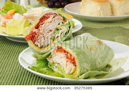 Turkey Club Sandwch With A Salad