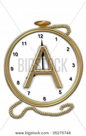 Alphabet Pocket Watch A