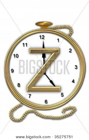 Alphabet Pocket Watch Z