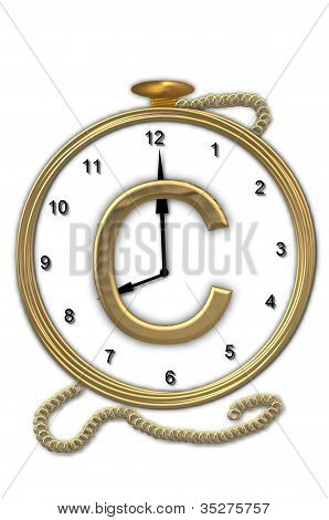 Alphabet Pocket Watch C