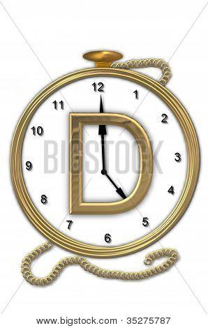 Alphabet Pocket Watch D