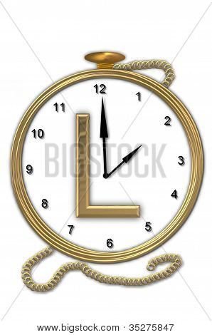 Alphabet Pocket Watch L