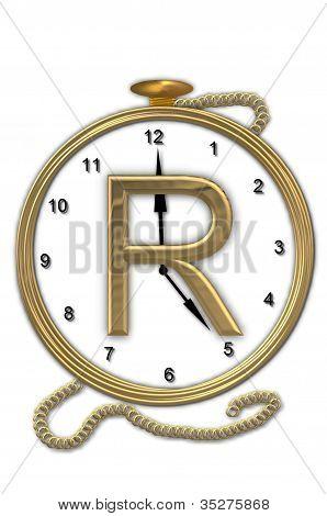 Alphabet Pocket Watch R
