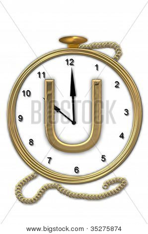 Alphabet Pocket Watch U