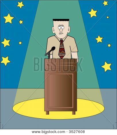 Man Shy Under Spotlight With Podium.