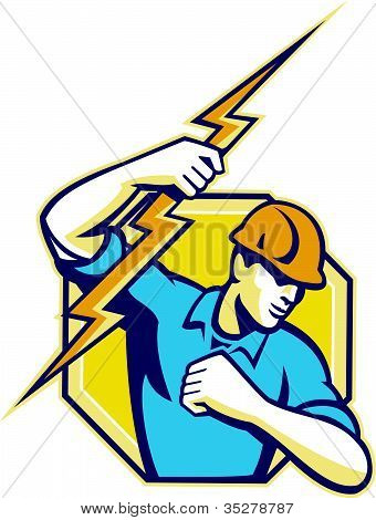 Electricista Retro de trabajador de construcción