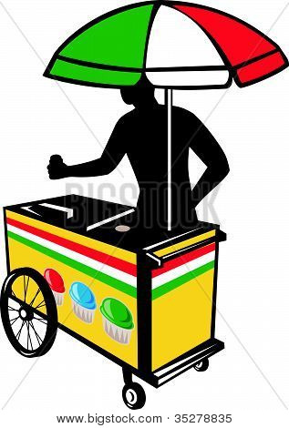 Italian Ice Push Cart Retro