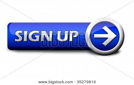 Blue button sign up