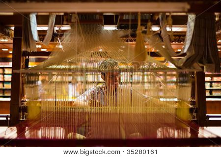 Indian Sari Weaver Hand Loom Inside