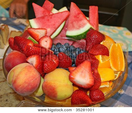Fruit in a round glass bowl