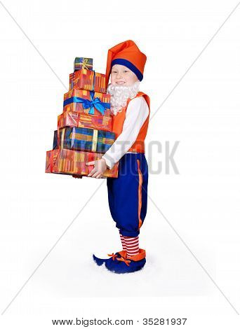 Little Gnome With Gift Boxes