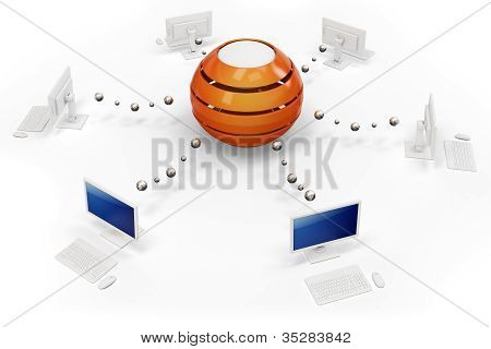 3D Computer Network With Central Hub Server