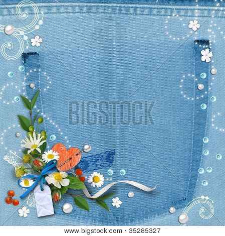 Blue Denim Textured Background Vintage
