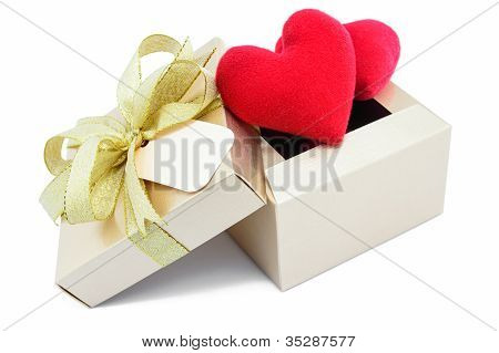Golden Gift Box And Red Heart On White Background.