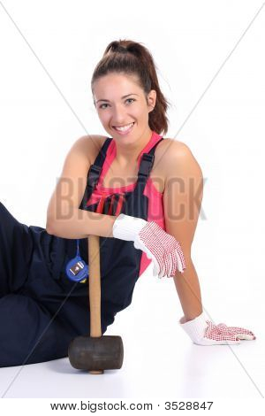 Woman With Black Rubber Mallet