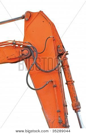 Old Generic Excavator Dipper And Boom, Vertical Closeup, Isolated