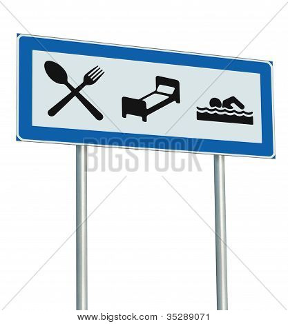 Parking Lot Road Sign Isolated, Restaurant, Hotel Motel, Swimming Pool Icons, Roadside Signage