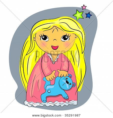 little girl bed time. cartoon child playing with toy